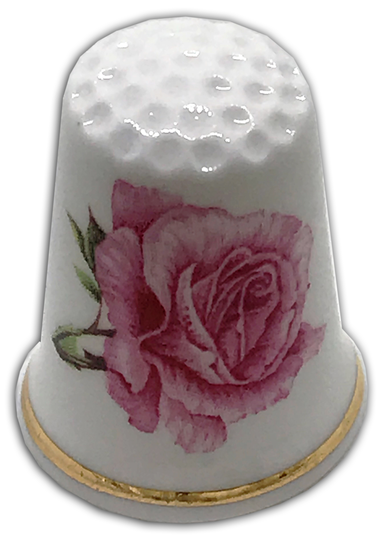 Floral Flowers Vintage White daffodils China thimble